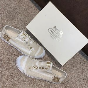 Offers? 👟Coach Kennedi Lurex Canvas Slip-On Shoes